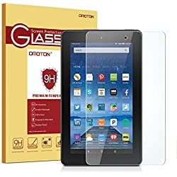 OMOTON Scratch Resist Tempered Glass Screen Protector for Amazon Fire 7-inch Tablet (Previous 5th Generation), Not Fit All-New Fire 7 Tablet (7th Gen, 2017 Released)