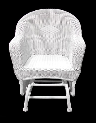 Resin Wicker Single (NorthLight 36 in. White Resin Wicker Single Glider Patio Chair)