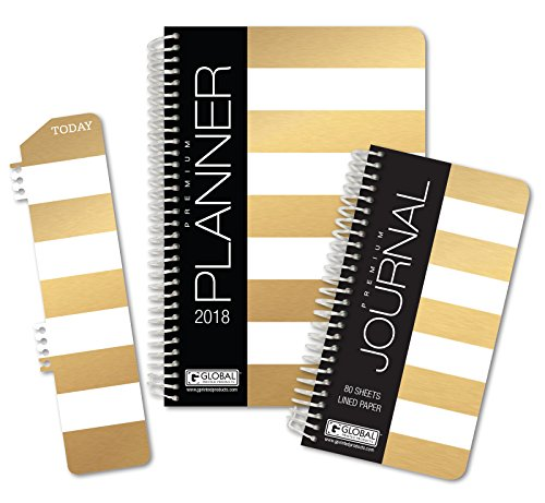 Best Planner 2018 Agenda for Productivity, Durability and Style. 5x8 Daily Planner / Weekly Planner / Monthly Planner / Yearly Agenda. HARDCOVER Organizer with BOOKMARK and JOURNAL (Gold Stripe)