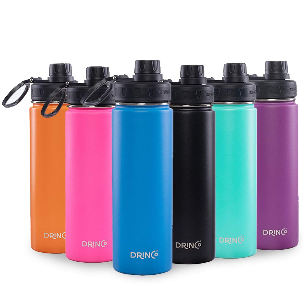 Drinco - Stainless Steel Water Bottle | Double Wall Vacuum Insulated | With Wide Mouth Spout Lid Leak Proof | Blue | 18/8 Grade, 20, 32 oz
