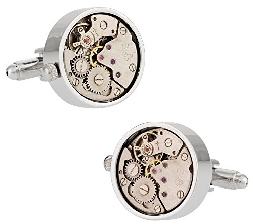 Silver Cufflinks Watch Movement - Working Silver Watch Movement Steampunk Cufflinks with Glass Cover in Gift Box