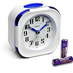 Battery Inclued, Peakeep Small Non Ticking Analog Alarm Clock with Nightlight and Snooze, Melody Sounds, Simple to Set Clocks, White with Navy