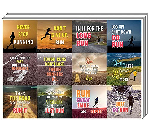 Creanoso Inspiring Sayings Running Stickers (10-Sheet) - Premium Gift Set Stickers for Runners, Joggers, Sprinters, Adult Men & Women, Teens - Unique Sports Gifts - Wall Decal Decor Art Bulk Pack