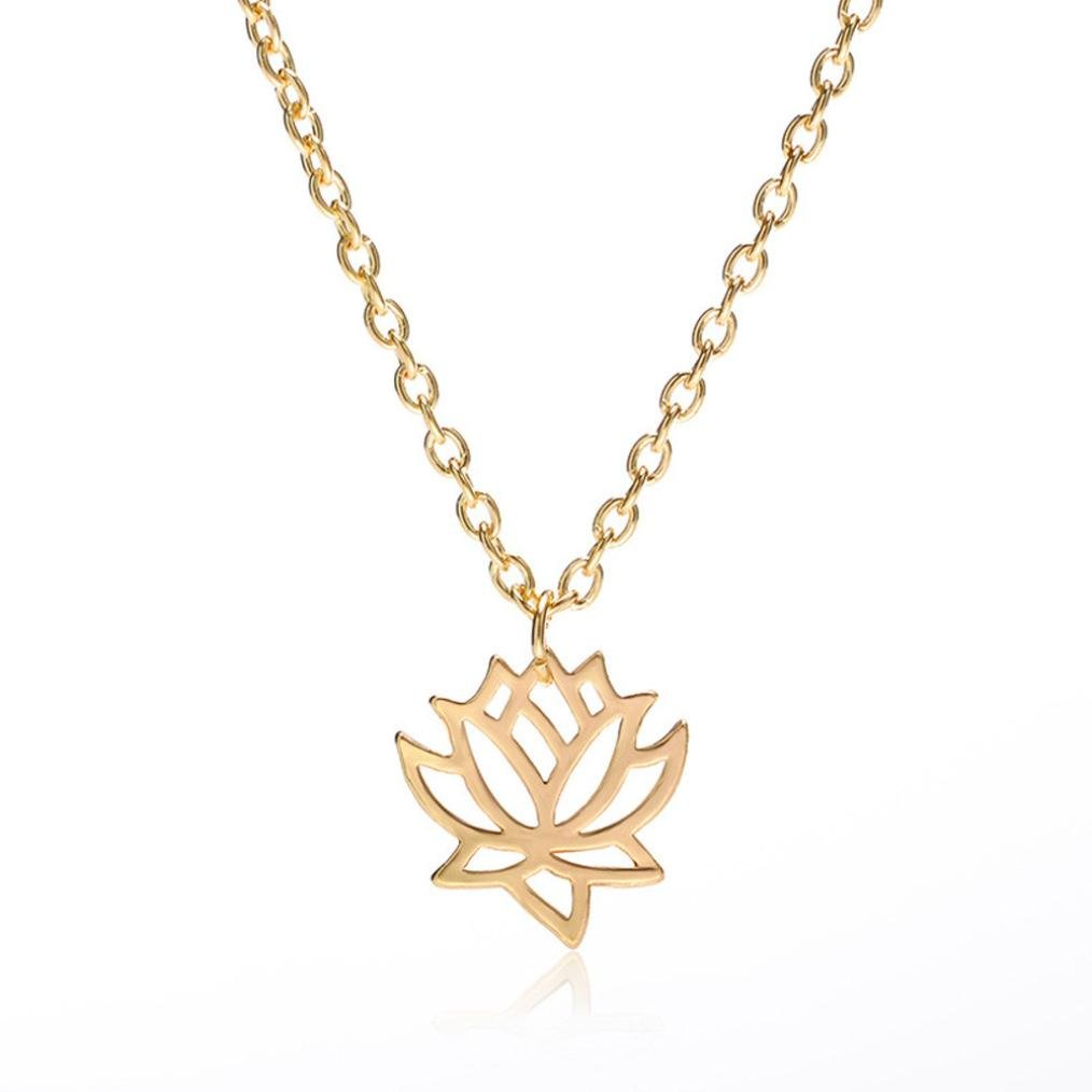 Jewelry Gift, Women Hollow Out Lotus Flower Charming Pendant Necklace by Kimloog KMG-0001