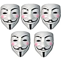 Fancy Steps V for Vendetta Comic Face Mask Anonymous Guy Fawkes, White (Pack of 5)