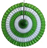 3-pack 16 Inch Striped Honeycomb Tissue Paper Fan Decoration (Lime Green/White)