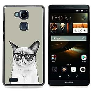 For HUAWEI Ascend Mate 7 - Siamese Cat Drawing Angry Glasses Art Hipster /Modelo de la piel protectora de la cubierta del caso/ - Super Marley Shop -