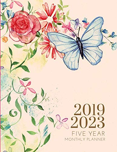 2019-2023 Five Year Planner Butterfly Monthly Organizer With