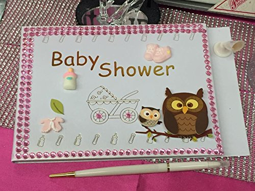 Girl Baby Shower Owl Guest Book Mom to Be Keepsake Gift
