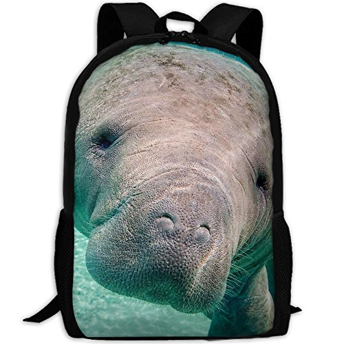 Big Manatee Backpack Briefcase Laptop Travel Hiking School Bags Stylish Daypacks Shoulder (Manatee Purse)