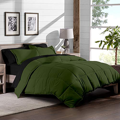 Bare Home 5-Piece Bed-In-A-Bag - Twin (Comforter Set: Green, Sheet Set: Black)