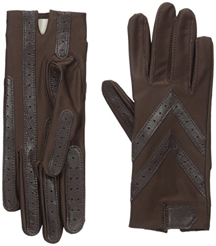 Isotoner Women's Spandex Shortie Gloves with Leather Palm...