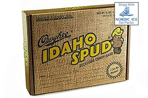 Famous Idaho Spud Chocolate Candy Bars | 24 Count | Full Size Bar, Bulk, Specialty Candy Boxes, Soft Marshmallow Center with a Dark Chocolate Coating Sprinkled with Coconut