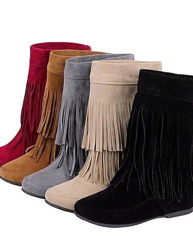 Botas Vellón Moda negro Amarillo Zapatos A Eu37 De Vestido Punta us5 5 5 Yellow 5 Eu us6 Tacón Cuña Cn37 7 Cuñas Beige 5 La Casual Cn35 5 Mujer Uk4 Xzz Uk3 Eu36 Rojo Redonda 86qPq