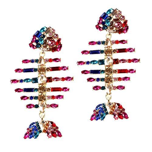- Crystal Statement Earrings Bling Diamond Fruit Animal Drop Earrings Cute Dangle Earrings for Women Girls (B: fish bone)