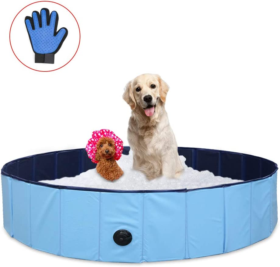 ZEHNHASE 120CM Piscina para Mascotas Plegable, PVC Antideslizante y Resistente al Desgaste Piscina para Perros, Adecuado para Niños/Mascotas Perros