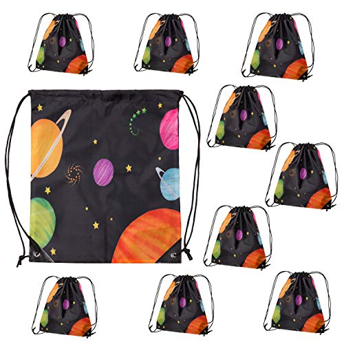 Outer Space Party Supplies 10 Pack Draw String Solar System Backpacks Birthday Treat Bags with Planets and Galaxy