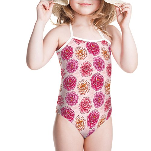 iPrint Girls' Swimsuit Fragrance Bouquets Love Classic Blooms Graphic for 7-8ages