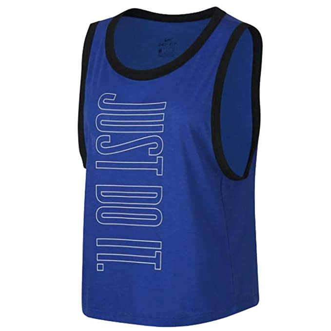 61c31f5a20 Nike Dry Women's Dri-Fit Muscle Crop Top Tank Top Shirt Black Blue ...
