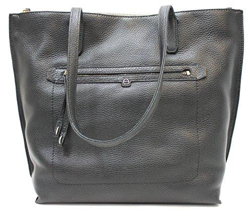 Etienne Aigner Large Pebbled Leather Tote (Black) (Etienne Black Handbags Aigner)