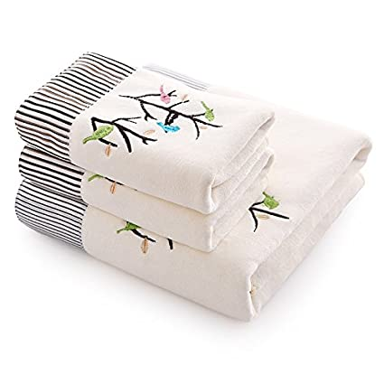 Hoomy Embroidery Bath Towels Set Soft Velvet Face Towels Durable White Hand Towels for Bathroom Absorbent