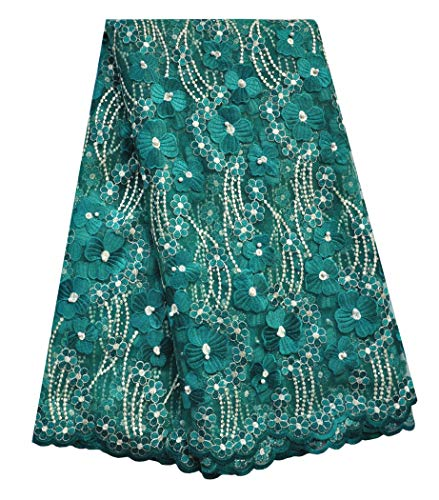 (SanVera17 Manual Beading Glitter Stone African Lace Net Fabrics Nigerian Saree Fabric Embroidered and Guipure Cord Lace for Party Wedding (Dark Green) 5 Yards)