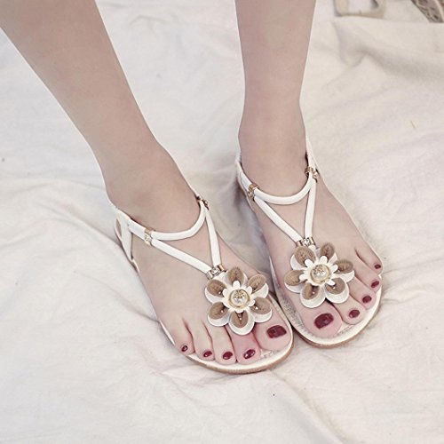Sandali Donna Fheaven Flat Summer Flower Sandali Romani Scarpe Casual Pantofole Bianche