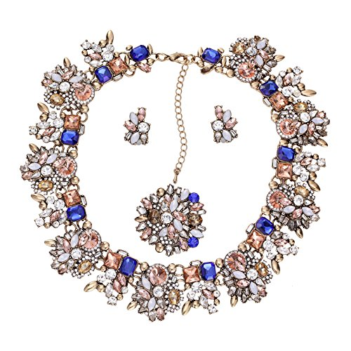 ng Crystal Necklace and Earrings Jewelry Set for Women 6 Colors Available ()