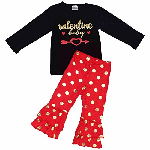 Unique Baby Girls Polka Dot Valentine Baby 2 Piece Outfit (3t/S, Red)