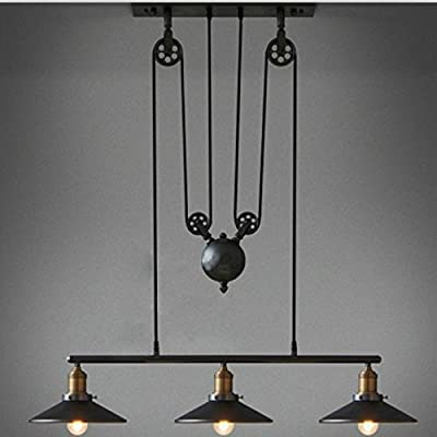 Sanyi Vintage Creative Pulley Design Black Iron Painted 3-Lights Island Light Bar Retro Hanging Lamp 3 Heads