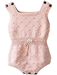 Baby Girls Knitted Striped Spot Romper Button Sleeveless Jumpsuit Bodysuit