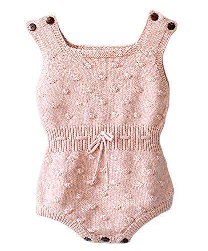 46942e0d3 Eiffel Direct Baby Girls Knit Striped Polka Dot Romper Cute Strap ...