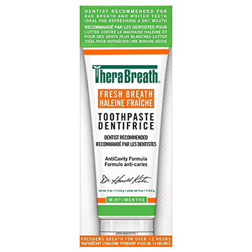 TheraBreath Dentist Recommended Fresh Breath Dry Mouth Toothpaste, Fresh mint 113.5g Thera Breath