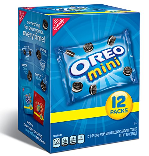 Oreo Mini Chocolate Sandwich Cookies - Snack Packs, 12 Count Box (Pack of 4)