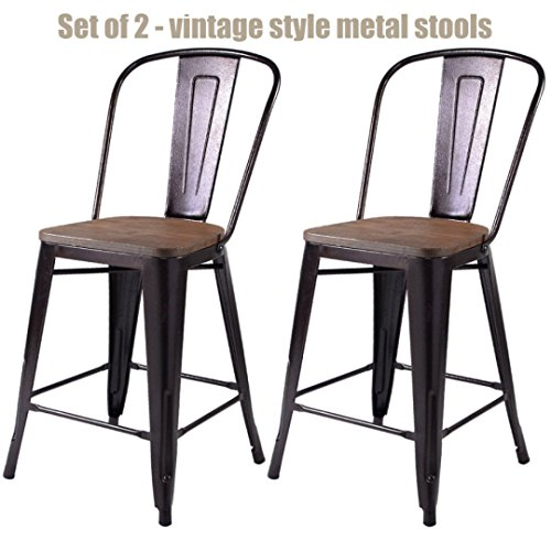 Vintage Antique Style Metal Rustic Wooden BarStools School Office Kitchen Dining Chairs Sturdy Heavy Duty Steel Frame Scratch Resistant Comfortable Backrest New Copper Set of 2 - 38.9