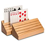 Yellow Mountain Imports Solid Oak Wood Playing Card Holders (Set of 2) - Travel-Friendly - Durable - Easy Organization While Playing - Clever Design Perfect for Most Card Games