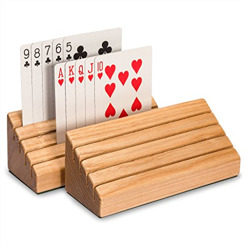 - Yellow Mountain Imports Solid Oak Wood Playing Card Holders (Set of 2) - Travel-Friendly & Durable