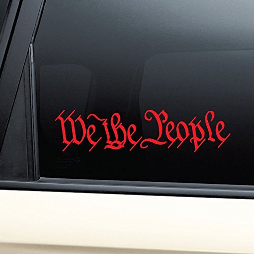 (We the People United States Constitution Vinyl Decal Laptop Car Truck Bumper Window Sticker - Red)
