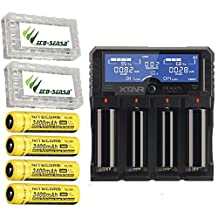 Combo: Xtar DRAGON VP4 Plus -4 Port Charger w/4x NL189 Batteries +2x Free Eco-Sensa Battery Cases