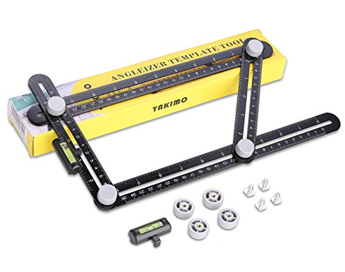 UPGRADED Metal Multi Angle Measuring Ruler with Unique Line Level, Made by Aluminum Alloy and Embedded Copper Bolts and Nuts