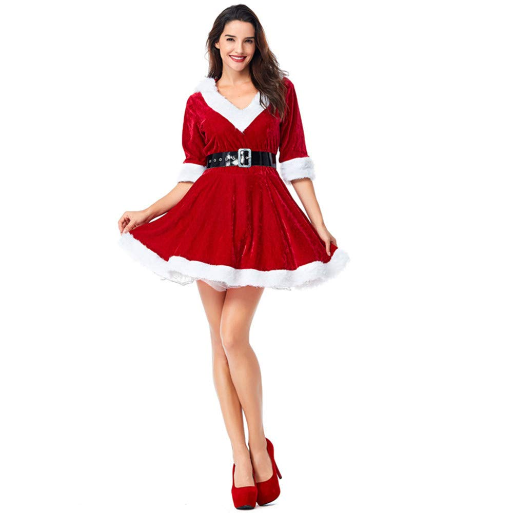 c3acafd3e45 Amazon.com  xingmeihe Women s Mrs. Claus Costume 2 Piece Hooded Santa  Sweetie Christmas Outfit  Clothing