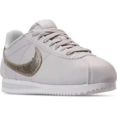 Nike Womens Classic Cortez Leather Low Top Lace Up Fashion, Beige, Size 11.0