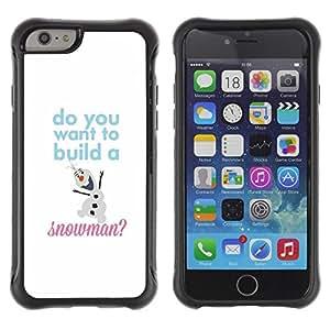 LASTONE PHONE CASE / Suave Silicona Caso Carcasa de Caucho Funda para Apple Iphone 6 PLUS 5.5 / Snowman Quote White Winter Text