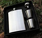 Premium 8oz Hip Flask By Solid Gifts - Includes 8oz Stainless Steel Hip Flask, Funnel, Two Stainless Steel Cups, and Black Gift Box