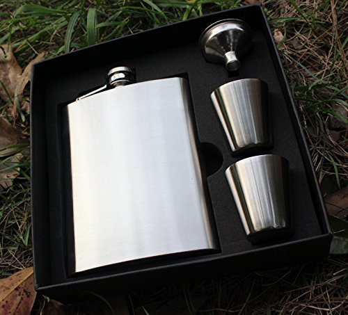 Premium-8oz-Hip-Flask-By-Solid-Gifts-Includes-8oz-Stainless-Steel-Hip-Flask-Funnel-Two-Stainless-Steel-Cups-and-Black-Gift-Box