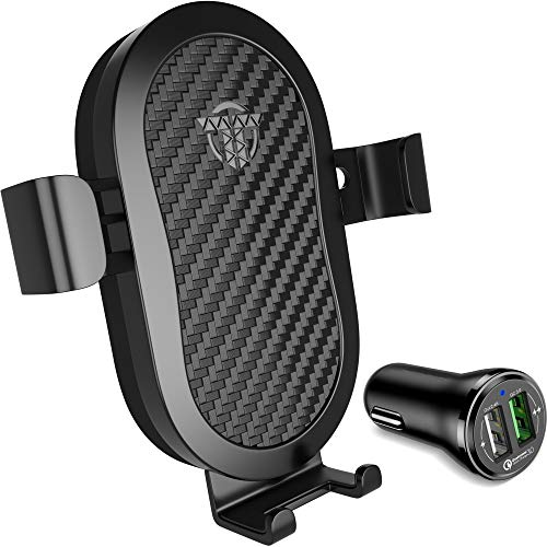 Wireless Car Charger Mount - 10W Fast Qi Car Charger Holder For iPhone X 8 Samsung Galaxy S9 S8 S7 LG Premium Charge Stand Cars Kit With QC3.0 Quick Gravity Dock and Best Q1 Cell Phone Air Vent Set by TEKHART