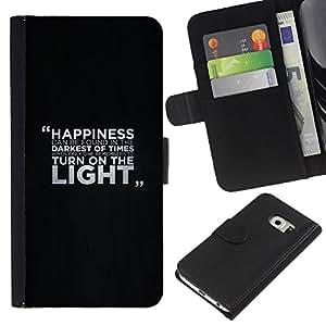 KLONGSHOP // Tirón de la caja Cartera de cuero con ranuras para tarjetas - Felicidad Mensaje - Samsung Galaxy S6 EDGE //