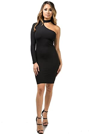 0505dffa29a Amazon.com: One Shoulder Choker Dress: Clothing
