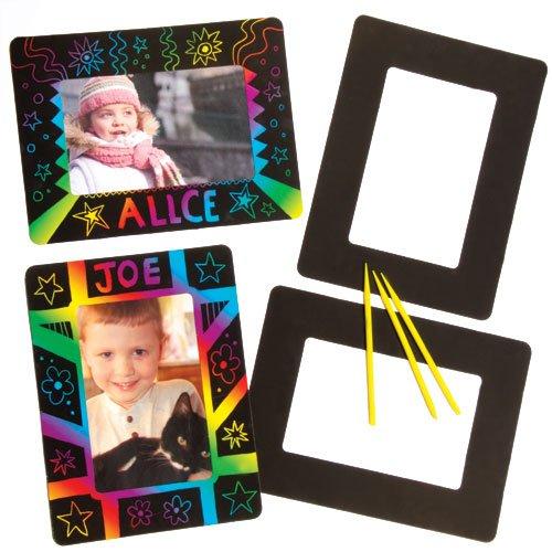 Kratzbild-Bilderrahmen - 21.5cm x 16cm - scratch art für Kinder zum Basteln - 8 Stück