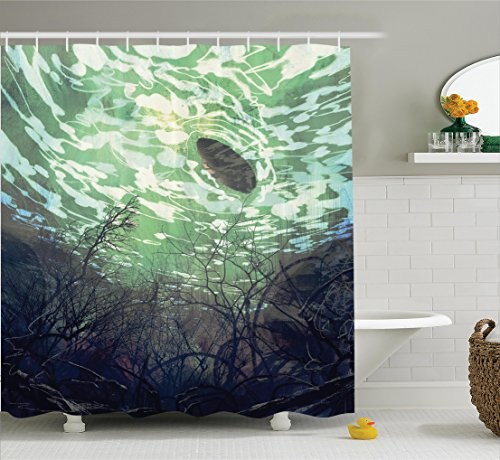 Underwater Branches (Fantasy World Decor Shower Curtain Set By Ambesonne, Underwater World With Tree Branches Stones Waves And Reflection Of The Sun Digital Art , Bathroom Accessories, 69W X 70L Inches, Green)